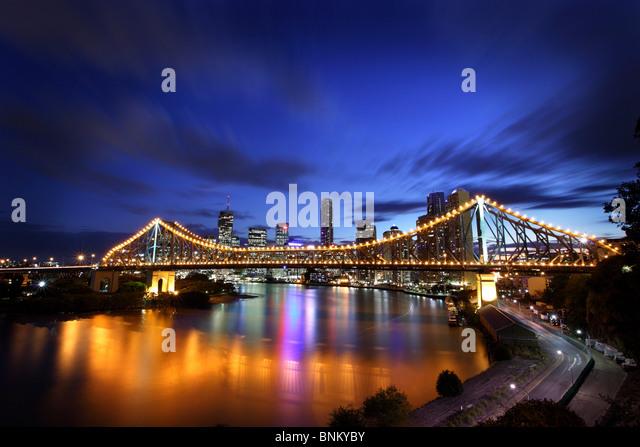 Story Bridge Brisbane Australia at dusk - Stock Image