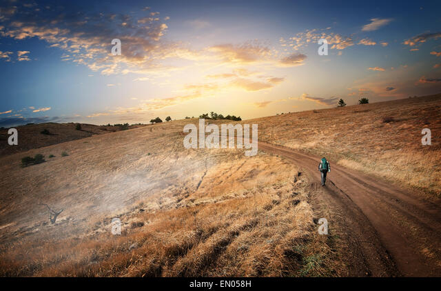 Hiking to the mountains in the autumn - Stock Image