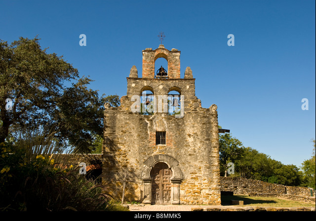Mission Espada exterior front door bell tower San Antonio Texas tx Missions National Historical Park san antonio - Stock Image