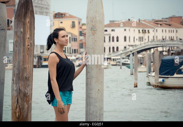 Italy, Venice, Tourist in city - Stock-Bilder