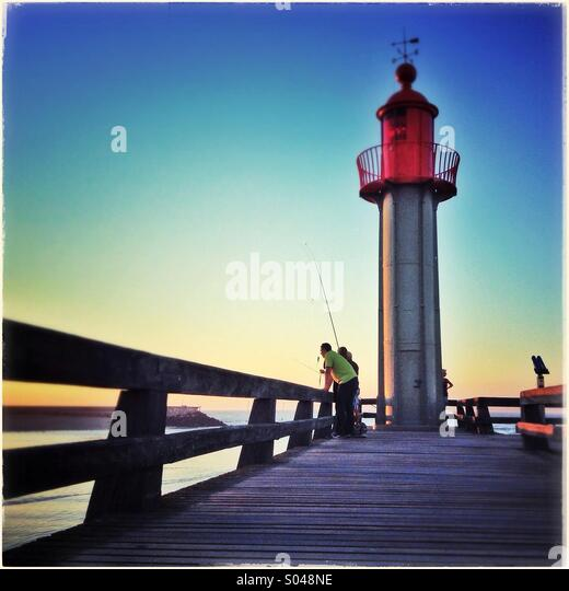 Lighthouse. Trouville sur Mer lighthouse. Noemandy, France - Stock Image