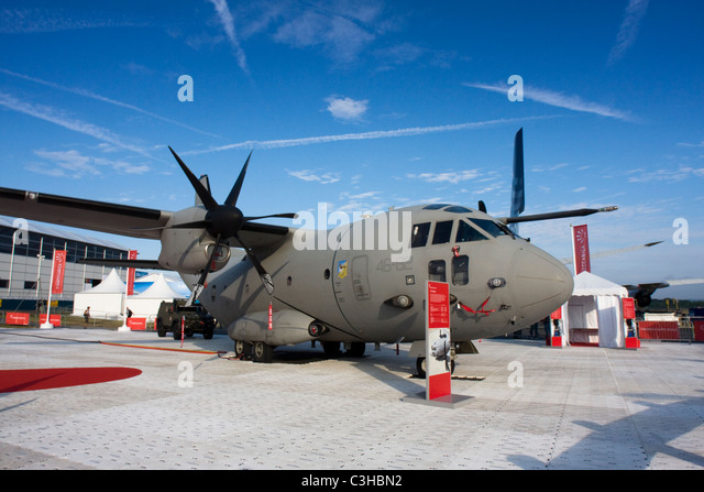 Italy Air Force Alenia C-27J Spartan from 46 Squadron based at Pisa/San Giusto AB at Farnborough Airshow 2010, UK. - Stock Image