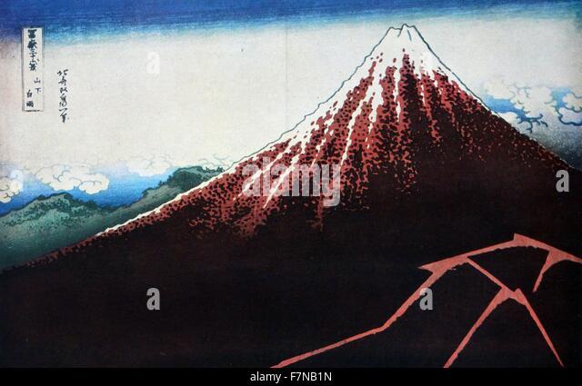 Hokusai Shower Below the Summit (Sanka hakuu), from the series 'Thirty-Six Views of Mount Fuji (Fugaku sanjurokkei)', - Stock Image