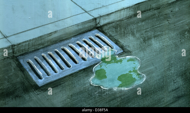 Illustrative image of liquid near drain representing natural resource wastage - Stock Image