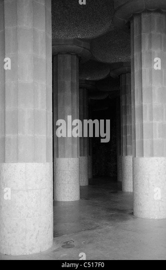 Hall of columns in Park Guell, Barcelona, Spain - Stock Image