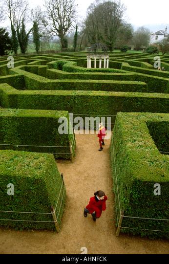Uk Herefordshire Symonds Yat Jubilee Maze Children Running Ahnfck Hayes Valley Stock Photos Images Alamy