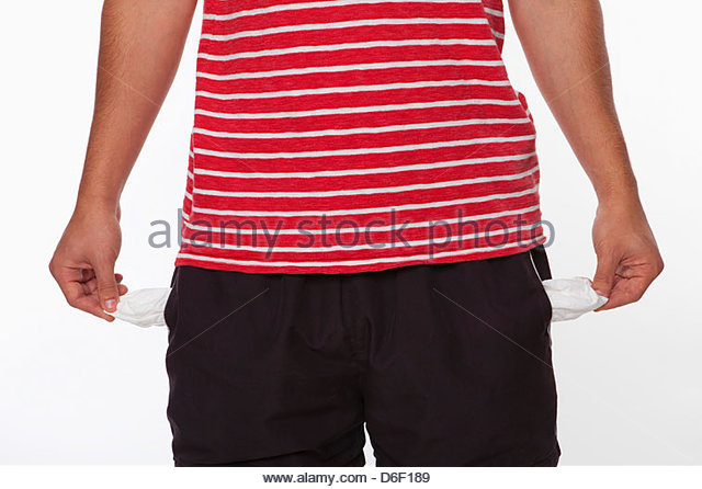 Poor teenager male broke no money penniless - Stock Image