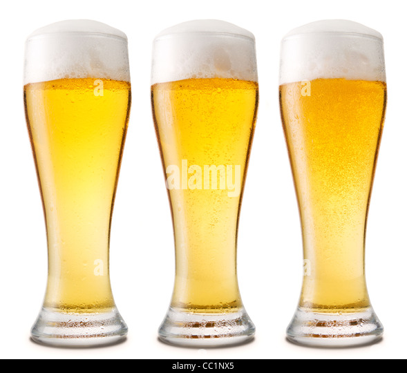 Beer into glass isolated on white. three options - Stock Image