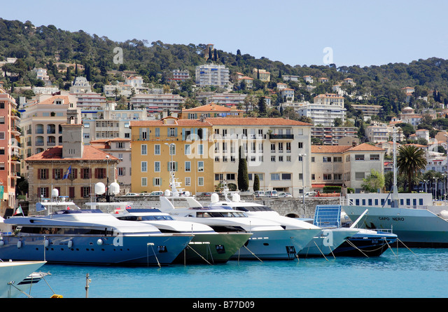 Ships at harbour, Nice, Alpes-Maritimes, Provence-Alpes-Cote d'Azur, Southern France, France, Europe / yacht - Stock Image