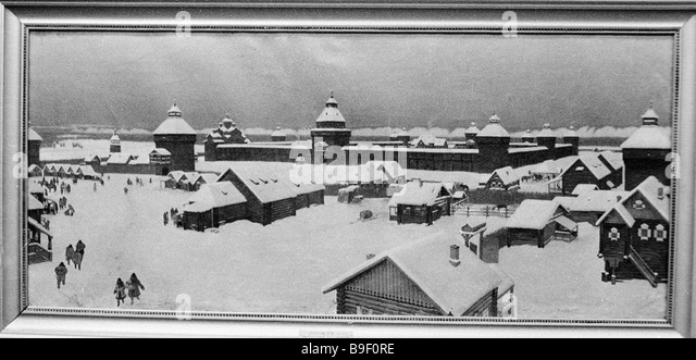 Reproduction of antique lithograph depicting a prison which gave rise to the city of Yakutsk - Stock Image
