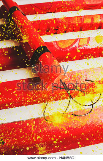 Digital artwork on a red dynamite bomb fusing to detonate in a pulse of overcharged destruction. Cartoon bomb - Stock Image