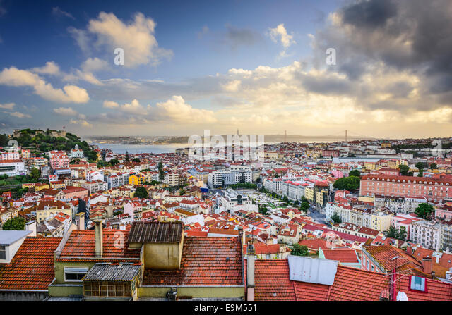 Lisbon, Portugal skyline in the afternoon. - Stock Image