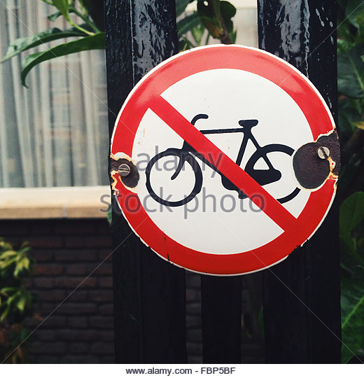 Close-Up Of No Cycling Sign On Gate - Stock Image
