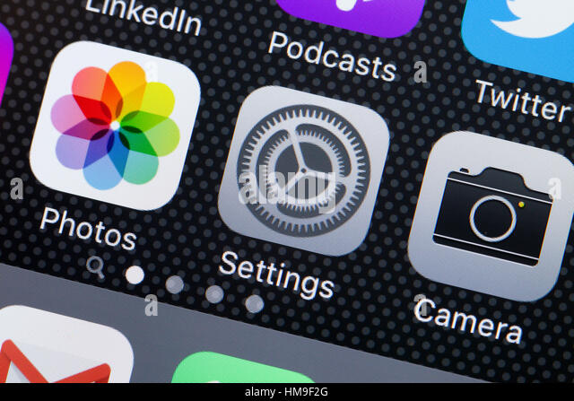 Settings app icon on iPhone screen - USA - Stock Image