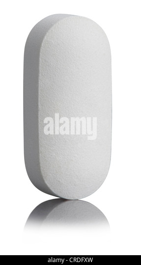 Single White Pill - Stock Image