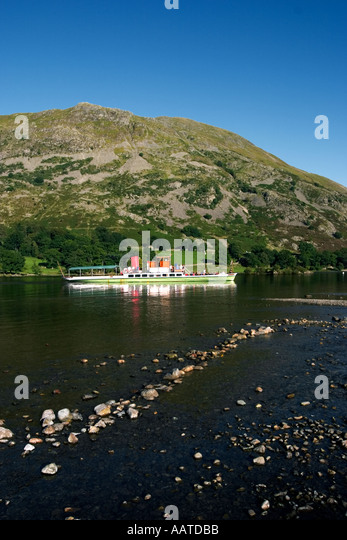 Steamer on Ullswater The Lake District Cumbria UK England - Stock Image