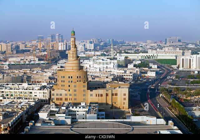 The spiral mosque of the Kassem Darwish Fakhroo Islamic Centre in Doha, Doha, Qatar, Middle East - Stock Image