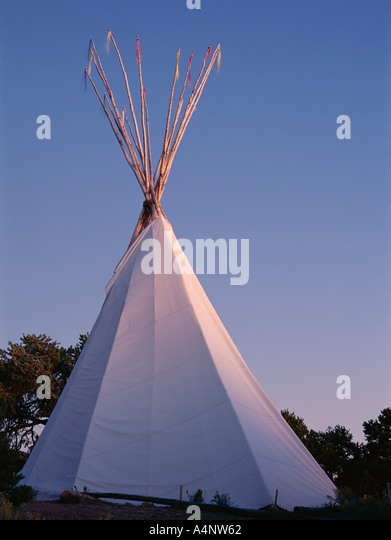 Storyteller s teepee at sunset Wheelwright Museum Santa Fe New Mexico United States of America U S A North America - Stock Image