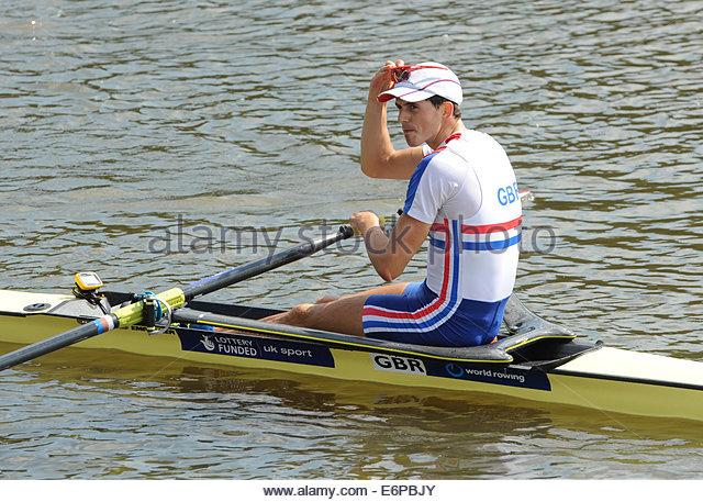 Amsterdam NL 27th August 2014 World Rowing Championships.  Lightweight mens skulls.  Zak Lee- Green (GBR) - Stock Image