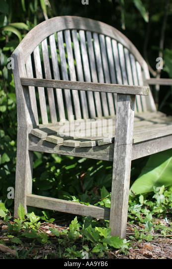 Florida, weathered wood empty bench, seat, rest, relax, retirement, - Stock Image