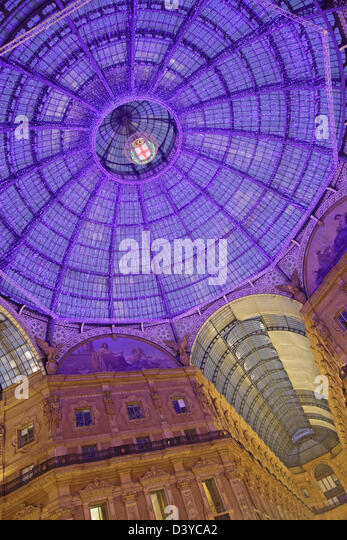 Illumination of Vittorio Emanuele II gallery, Milan, Italy - Stock Image