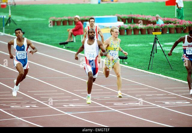 1992 Olympic Games in Barcelona, Spain. Mens 400 Metres Hurdles. Great Britain's Kriss Akabusi. 2nd August 1992. - Stock Image