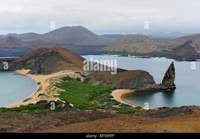 Sullivan Bay and Pinnacle Rock, Bartolom Island, Galapagos Islands, Ecuador, South America - Stock-Bilder