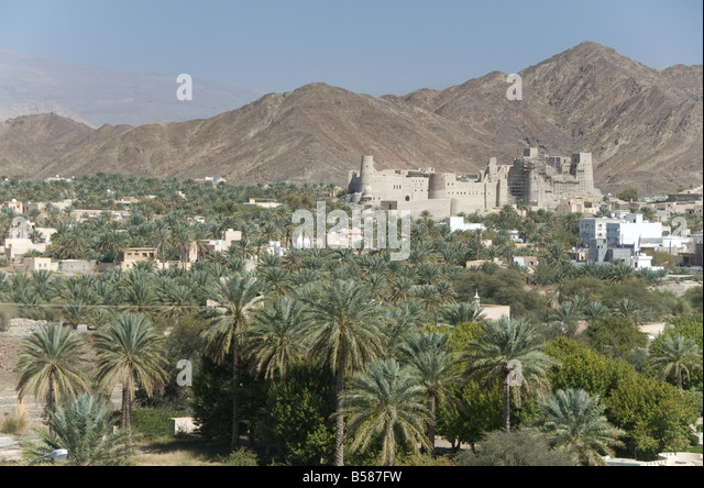 Fort in palmery on edge of modern oasis town, Bahla, Oman, Middle East - Stock Image