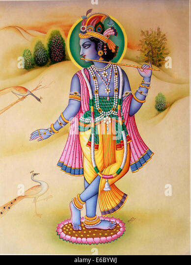 Mural painting of hindu god Krishna - Stock Image