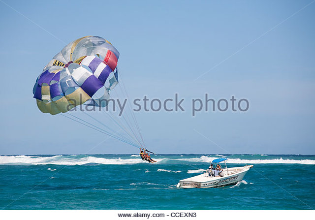 parasail,punta cana,hispaniola,dominican republic,caribbean - Stock Image