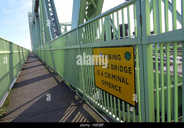 No-Climbing sign,Runcorn to Widnes Silver Jubilee road bridge, A533, Halton, Cheshire, England, UK - Stock Image