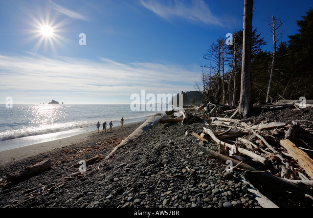people walking on Rialto Beach in the afternoon - Stock Image