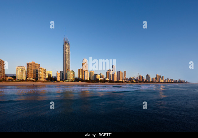 Surfers Paradise Gold Coast Australia  (low aerial view from a helicopter at first light) - Stock Image