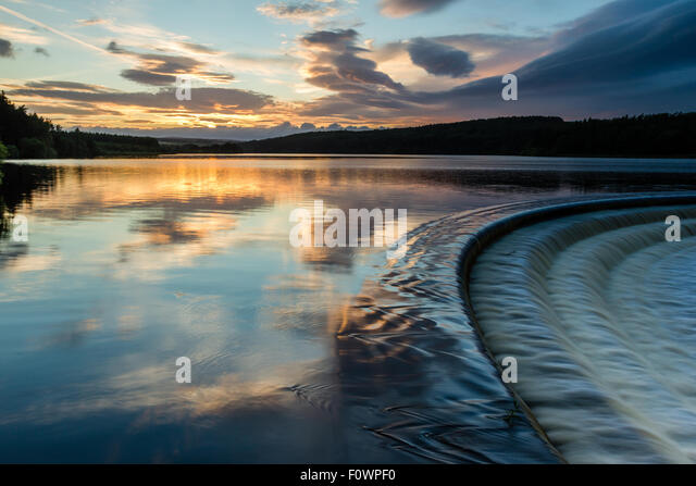 Fewston Reservoir overflow at sunset, near Harrogate - Stock Image