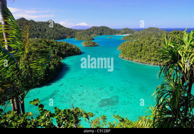 Wayag Island view, Raja Ampat islands near West Papua, Indonesia in the coral triangle, Pacific Ocean. - Stock Image