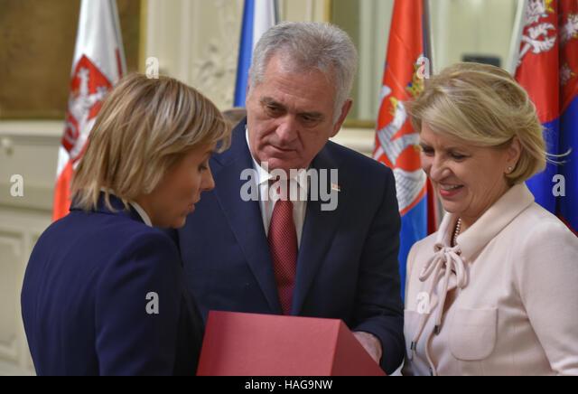 Grandhotel Pupp, Karlovy Vary. 30th Nov, 2016. Serbian President Tomislav Nikolic (centre) with his wife Dragica - Stock-Bilder