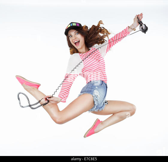 Lifestyle. Dynamic Animated Funny Woman Jumping. Freedom - Stock Image