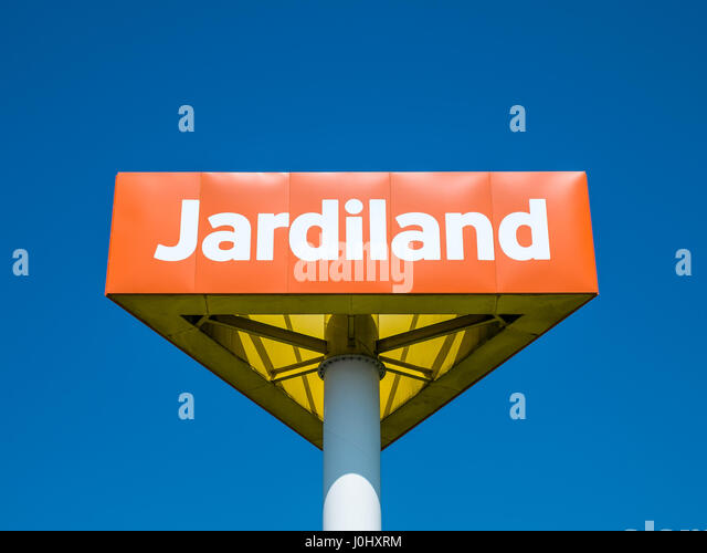 Company sign at Jardiland garden center, Chatellerault, France. - Stock Image