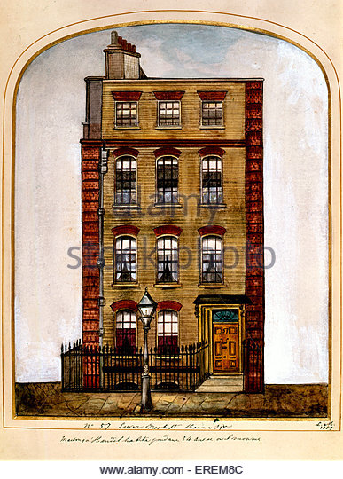 George Frederic Handel's house at 25 Brook Street, London, UK. 1859. Messiah score composed at this residence. - Stock Image