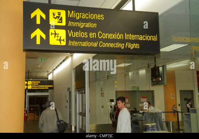 Lima Peru Jorge Chávez International Airport LIM aviation arrivals immigration connecting flights sign Spanish - Stock Image