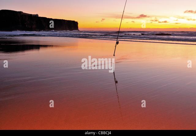 Portugal, Algarve: Sundown at beach Praia do Tonel in Sagres - Stock Image
