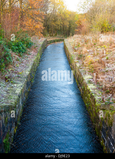 Reservoir overflow channel, England,UK. - Stock Image