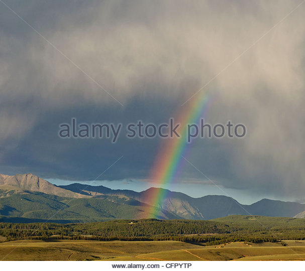 Rainbow after thunderstorm, Taylor Park, CO, Aug 9, 2010 - Stock Image