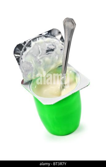 open yogurt isolated on white - Stock Image