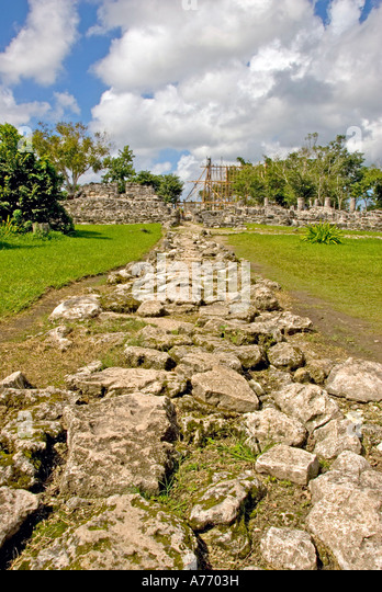 Mexico Cozumel San Gervasio Mayan ruins stone walkway - Stock Image