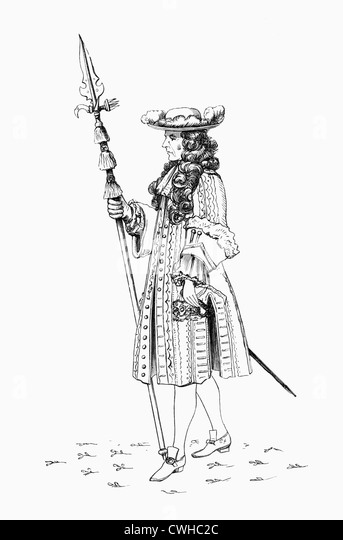 A gentleman pensioner, aka The Honourable Band of Gentlemen Pensioners, 1687. Bodyguard to the British Monarch. - Stock Image