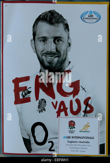 English Rugby Programme cover Eng v Aus at Twickenham, London, England, UK - Stock Image