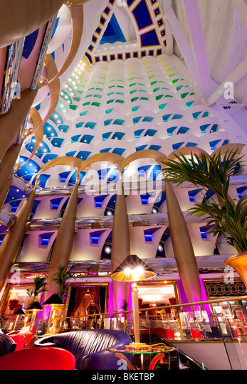 Atrium of the Burj Al Arab Hotel, Dubai, UAE, United Arab Emirates - Stock Image