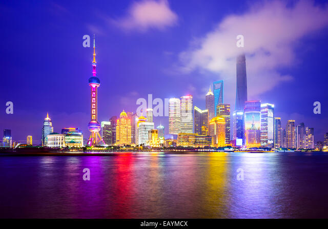 Shanghai, China city skyline of the Pudong Financial District. - Stock Image