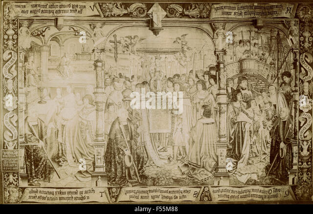 The Legend of Our Lady of Sablon, tapestry - Stock Image